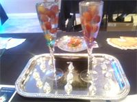 Champagne Flutes filled with Jello and fruit